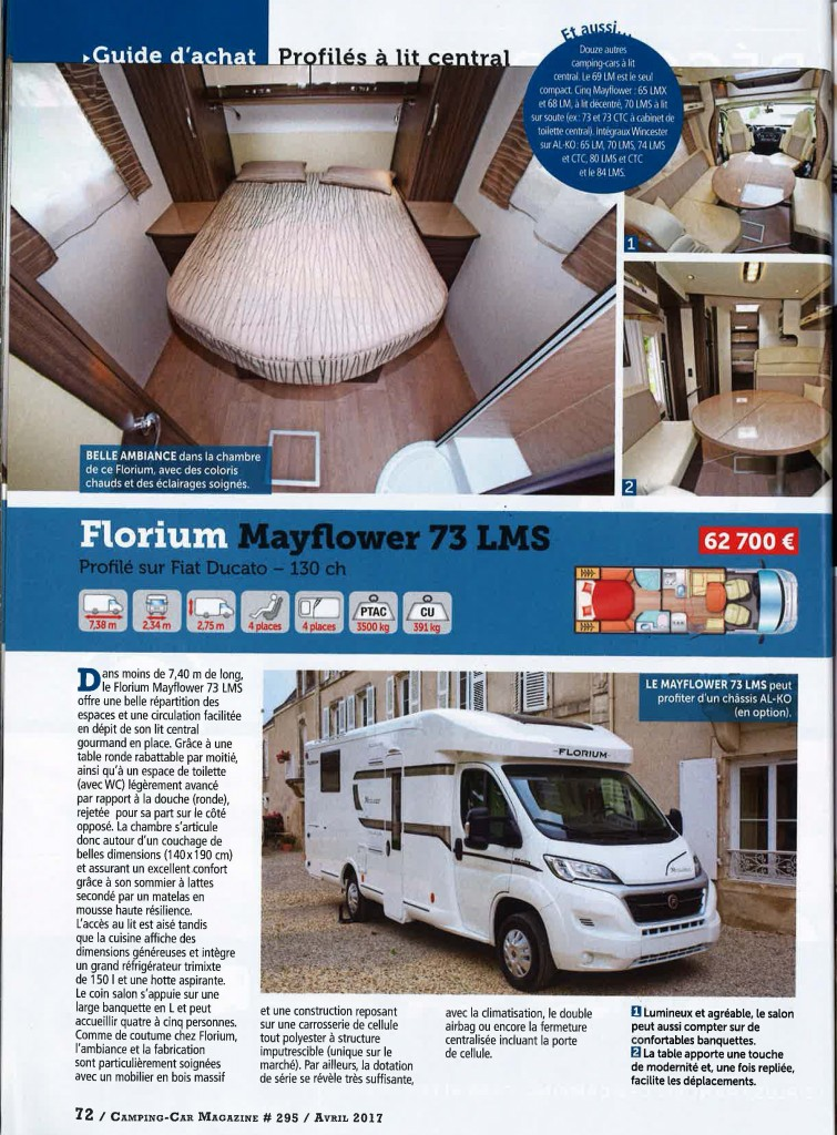 FLORIUM MAYFLOWER 73LMS – CAMPING CAR MAGAZINE AVRIL 2017